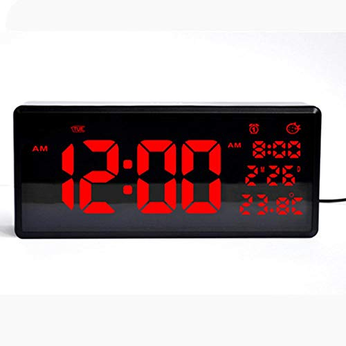 NZYDHK HD LED Kalender Wanduhr Home Desktop Wecker Sommerzeitfunktion LED elektronische Uhr mit Thermometer