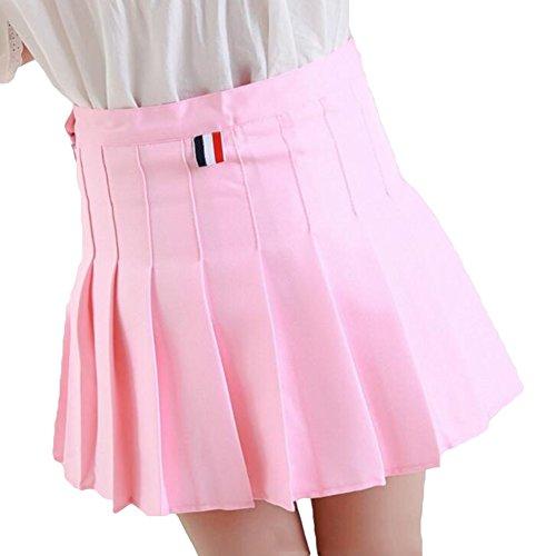 Yying Damen Hohe Taille Falten Röcke Mädchen Große Größe Schule Röcke A-Linie Mini Sailor Rock Rosa S