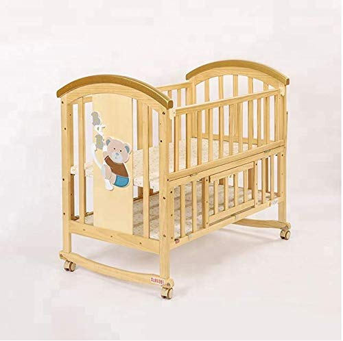 BabyTeddy® 9 in 1 Multifunctional Baby Crib, Baby Wooden Cot, Bed, Rocker/Swing,Convertible Desk and Kid's Sofa with Mattress and Mosquito Net (Natural)
