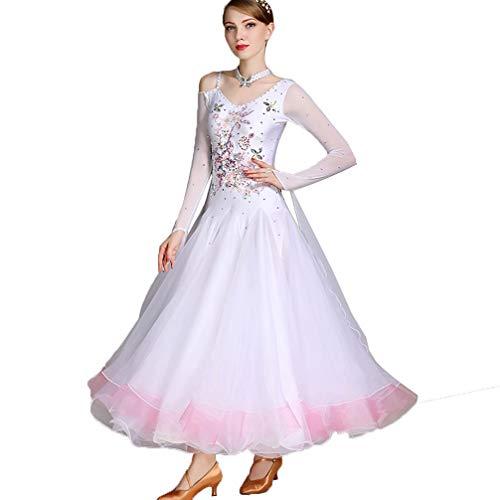 Nationaler Standardtanz Wettbewerb Kleider für Frauen und Mädchen Strass Tanzkostüm Kostüm Prinzessin Tüll Swing Rock, ()