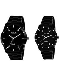 Mikado Black E Class Couple Analog Watch Combo Set For Men And Women Watch - For Men & Women