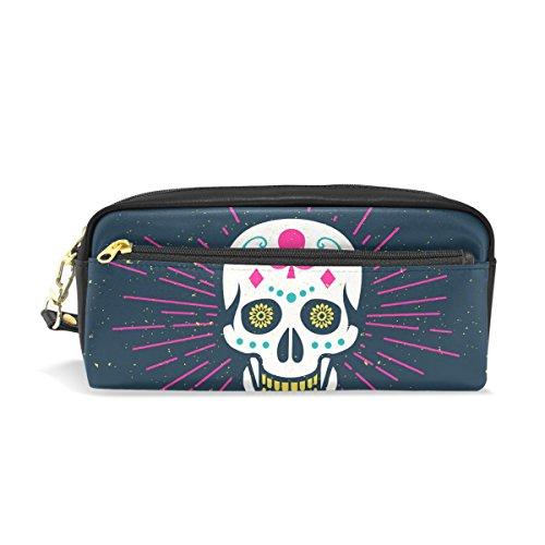 een Sugar Skull tragbar PU Leder Bleistift Fall School Pen Staubbeutel Stationäre Tasche Fall Große Kapazität Make-up Kosmetiktasche (Halloween-stationär)