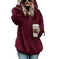 iWoo Teddy Fleece Sweatshirts Womens Casual Dubbele Fuzzy Fluffy Hoodie Effen Kleur Warm Stijlvolle 1/4 Zip Pullover met zakken