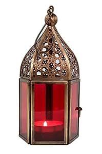 Lanterna a vento, lanterna da giardino, lanterna in ferro , orientale, marocchino, Arabo Mediterraneo, Marocco - Meena rosso 16cm - per le candele