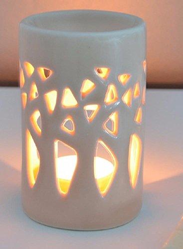 Aromalampe Duftlampe Wald aus Keramik beige 11 cm