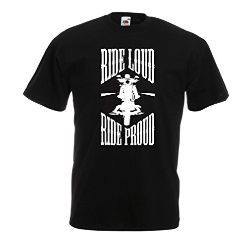 lepni.me N4695 T-Shirt da Uomo Ride Loud! (Medium Nero Multicolore)