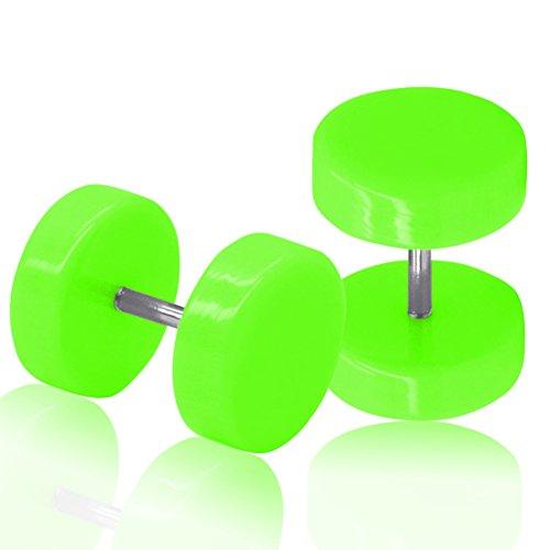 SoulCats® 1 Paar Fakeplugs Fakeplug Fake Plug Ohrringe Ohrstecker neon rot blau grün, Größe:10 mm;Farbe:neon grün