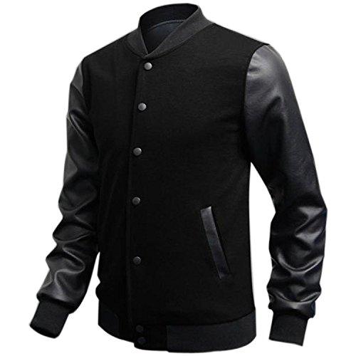Minetom Uomo Moda College Baseball Jacket Giubbotto Felpa - PU Cuciture in Pelle ( Nero IT 48 )