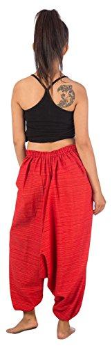 Lofbaz Damen Hmong Baumwolle Bedruckte Triangle Harem Hosen Design #5 Rot