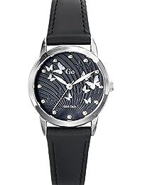 Go Girl Only–698700Damen-Armbanduhr–Quarz Analog–Zifferblatt schwarz Armband Leder schwarz