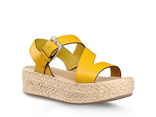 Sergio Rossi sandali zeppa EASY ZED in pelle giallo - Codice modello: A60440MMVS3547172 - Taglia: 40 IT