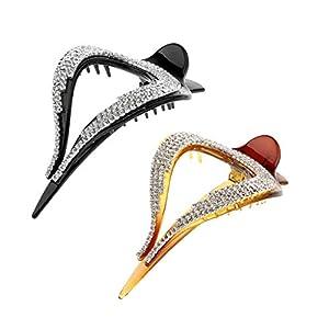 2pcs Haargreifer Clip Strass Haarzwicker Barrette Haar Zubehör für Hochzeit, Party, Braut, Schule, Büro, Abschlussball