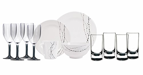 100% Melamin-Geschirr Line grau / elfenbeinweiss rund + Weingläser + Wassergläser aus Acryl,...