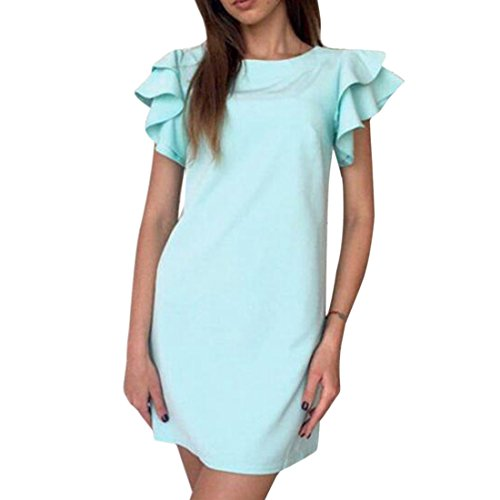 QIYUN.Z Les Femmes Falbala Épaule Style Backless Couleur Solide Robe De Changement Mini Lac Bleu