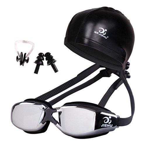 Coolster Schwimmen Gläser und Hut Ausrüstung Set Ohrstöpsel Nase wasserdicht Anti-Fog für Erwachsene (H)