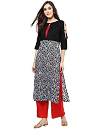 Jaipur Kurti Black Floral Print Kurta With Red Palazzo Set