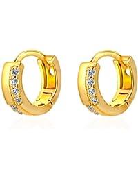 X&Y ANGEL ER0462 - Pendientes de aro pequeños de oro amarillo de 18 quilates para mujer