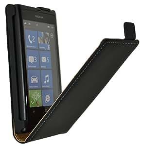 Original Suncase Flip-Style Echt Ledertasche für Nokia Lumia 800 in schwarz