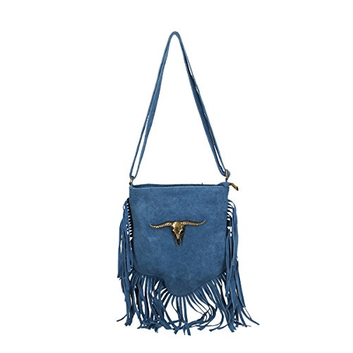 a03092316644b Chicca Borse echtes Leder Schultertasche 21x24x2 Cm Blau -verlag ...