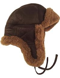 UNICORN Réal Peau de mouton Cuir unisexe fourrure hiver chapeau aviateur bouchon trappeur earflap Brun/Brun fourrure #2H