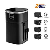 Skyoo Travel Adapter Universal Travel Charger with Dual USB Charging Ports for Apple, iPod, iPad, Android Smartphone and Digital Cameras