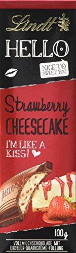 Preisvergleich Produktbild Lindt & Sprüngli Hello,  Strawberry Cheesecake Tafel,  4er Pack (4 x 100 g)