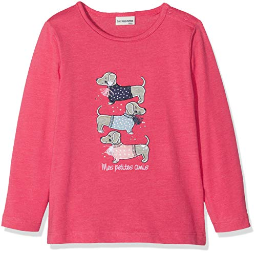 Strass Baumwolle, Elasthan (SALT AND PEPPER Baby - Mädchen Langarmshirt B Longsleeve Mon Amie Dogs 85211241, Gr. 80, Pink (Paradise Pink Melange 842))
