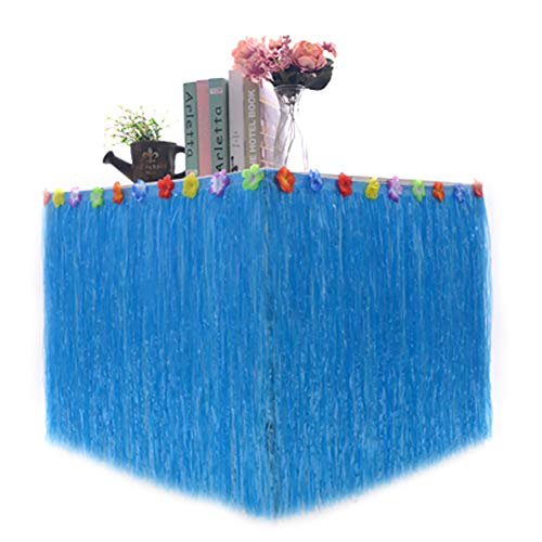 Saniswink einfach zu tragen Party Tischrock, Party Dekoration, Hawaiian Luau Party Tropical Garden Beach Dance Tischrock Blume Dekoration, Plastik, blau, 30 * 276cm