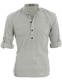 sourcingmap®Homme Demi Patte de Boutonnage Rollant Manches Chiné Henley T-Shirt