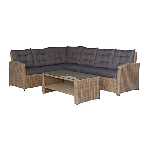 6 seater luxury brown rattan garden furniture set with for Luxury garden furniture