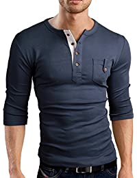 Grin&Bear Slim Fit 3/4 Arm Henley Shirt T-Shirt, BH108