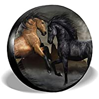 "VTIUA Horse Polyester Universal Sunscreen Funda para Rueda de Repuesto para Weatherproof for Jeep,Trailer,RV,SUV,Truck and Many Vehicles 14"" 15"" 16"" 17"""