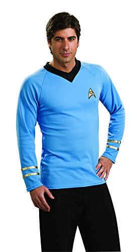 Rubies Costume Co R888983-L Star Trek Classic Adult Deluxe Blue Shirt Gr--e (Kostüme Science Mädchen Fiction)
