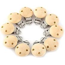 Clip de Chupete de Madera Pinzas de Chupete Sujetapapeles de Chupete para Niños Bebés 10pcs