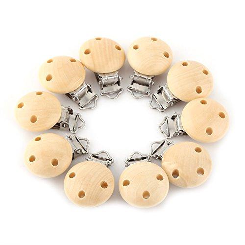 Preisvergleich Produktbild 10 Stücke Holz Schnuller Clip, natürliche Farbe Holz Baby Schnuller Clips Dummy Nippel Halter