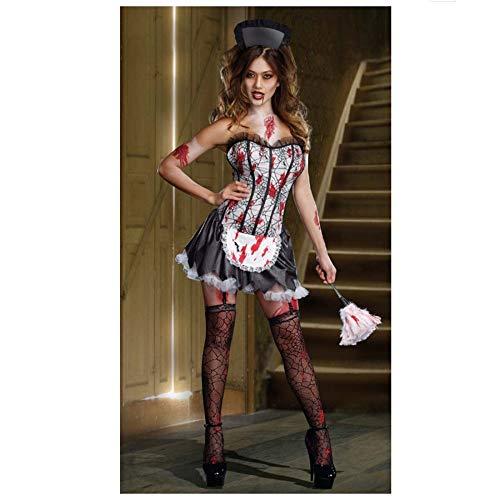 (SPFAZJ Halloween Kostüm Rollenspiel Krankenschwester schwarz Vampir Rock Bühne Outfit Queen Kostüm)