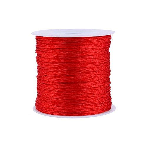 Haofy 100M x 0,8mm Nylonschnur chinesische Knotenschnur Rattail Macrame Armband geflochtene Schnur (rot) (Chinesische Rote Schnur Armband)
