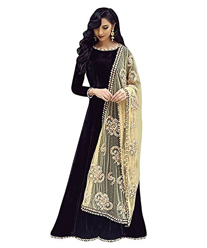 Women\'s Designer Party Wear New Collection Low Price Sale Offer Black Banglori Silk Anarkali Free Size Semi Stitched Salwar Suit with Dupatta