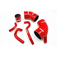 Autobahn88 Kit de manguera del refrigerador intermedio del silicón, Modelo ASHK203-RD (Rojo - sin sistema de abrazadera)
