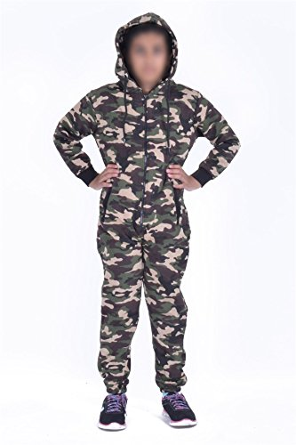 d6596c598 Kids Army Camo Print Onesie Hooded Jumpsuit All In One Boys Girls Fleece  Tracksuit Age 7