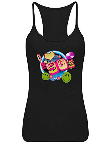 I Love The 90s Print Racerback Vest Top - 10 colours - Sizes 8 to 16