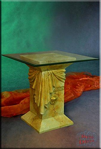 InterDecorShop Beistelltisch Medusa Marmor Optik Kaffetisch Tisch Glastisch Telefontisch Quadrat -