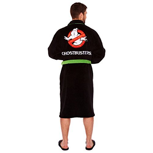 Official Ghostbusters No Ghost Black Fleece Dressing Gown Bathrobe