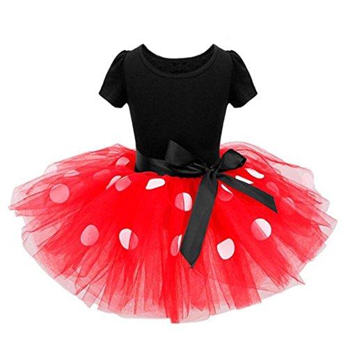 Schöne Kleider Babykleidung Kinderkleidung Longra Kinder Baby Mädchen Kleider Pageant Punkte Bowknot Kleid Party Karneval Ballkleid Prinzessin Kleid Kostüm Tutu Kleid (Red, 130CM 6Jahre)