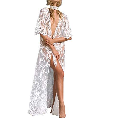 AmyGline Oberteil Damen Florale Kimono Cardigan Strand Chiffon Bluse Tops Bikini Cover up/Spitzen Bluse Tops Strand Badeanzug Bedecken Pareos Kimono Cardigan Strandkleid