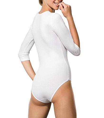 Doreanse 12330 Damen Body Bodysuit Top Halbarm T-Shirt Body Damen Blickdicht Weiß