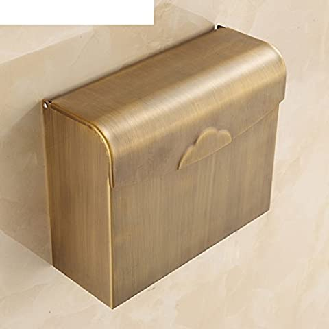 Full copper antique paper towel holder/Retro waterproof tissue box/Toilet paper holder/Continental Square rewinder/Tray bathroom-D