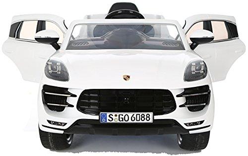 RC Auto kaufen Kinderauto Bild 3: Porsche Macan Turbo viele LED Effekte Soft Start Kinderauto Kinderfahrzeug Kinder Elektroauto Weiss*