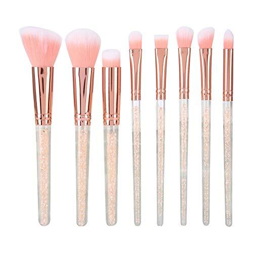 Kit de pinceau de maquillage de 8Pcs, pinceau rose de fard à paupières cosmétique de fond de teint de poudre de fond de teint