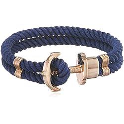 PAUL HEWITT Bracelet Femme PHREP Ancre - Cadeau Femme, Bracelet Femme Style Cordage (Bleu Marine) avec Fermoir Ancre en INOX plaqué Or (Or Rose)